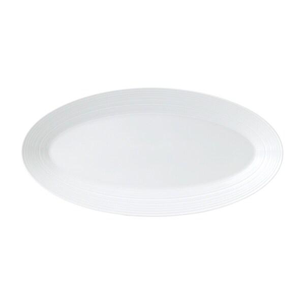 White Strata 15.3-inch Fine Bone China Oval Platter