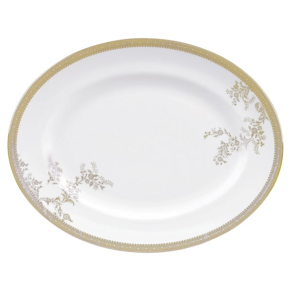 Vera Lace Gold 13.75-inch Fine Bone China Oval Platter