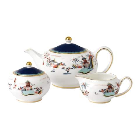 Wedgwood Wonderlust Blue Pagoda 3-piece Fine Bone China Tea Set