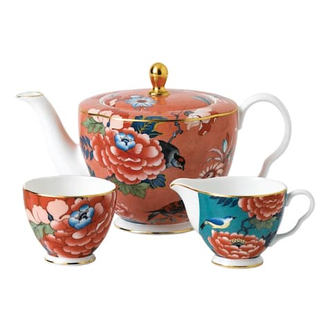 Paeonia Blush 3-piece Fine Bone China Tea Set