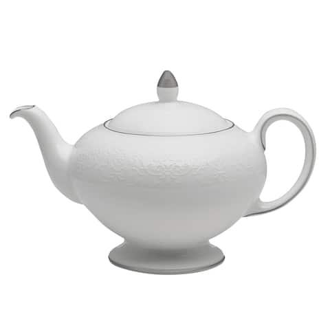 English Lace Shiny Platinum Band Fine Bone China Teapot