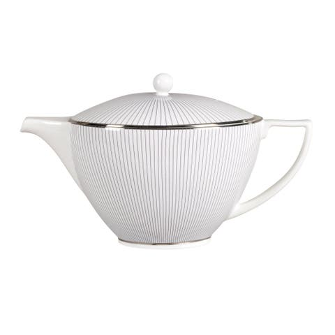 Pin Stripe 1.7-pt Fine Bone China Teapot