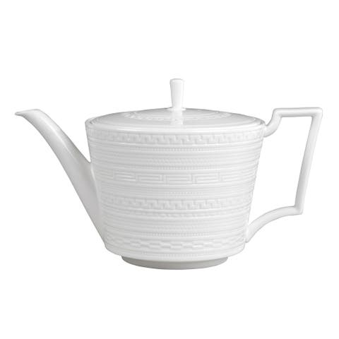 White Glaze Intaglio Fine Bone China Teapot