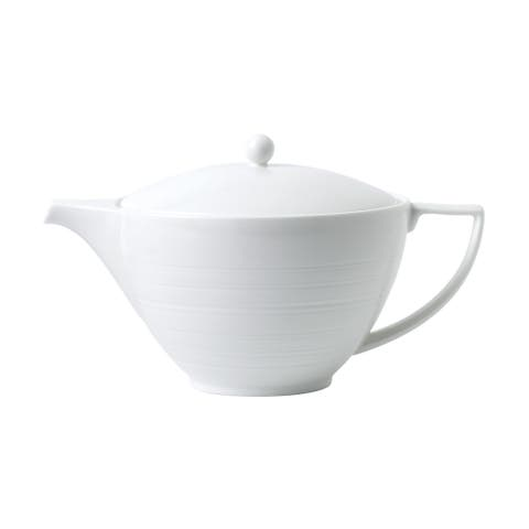 White Strata Gently Embossed Radial Fine Bone China Teapot