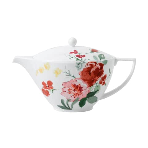 Floral Oversized Painterly Floral Fine Bone China Teapot