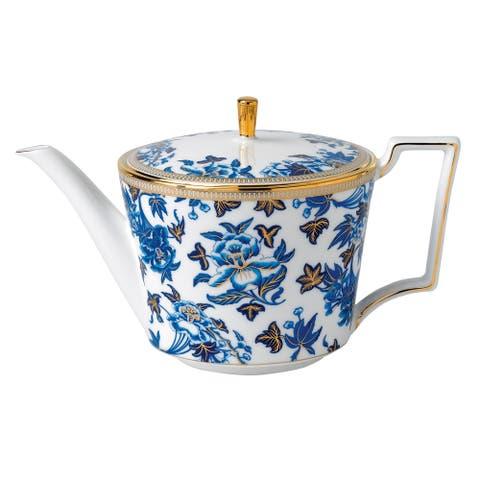 Hibiscus Oriental Blue Hues Fine Bone China Teapot