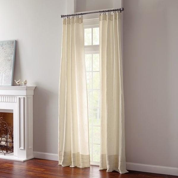 "Layla Ivory Semi Sheer Linen Single Curtain Panel - 50"" x 84"""