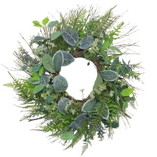Eucalyptus  Ivy and Fern Artificial Spring Wreath  Green 22-Inch