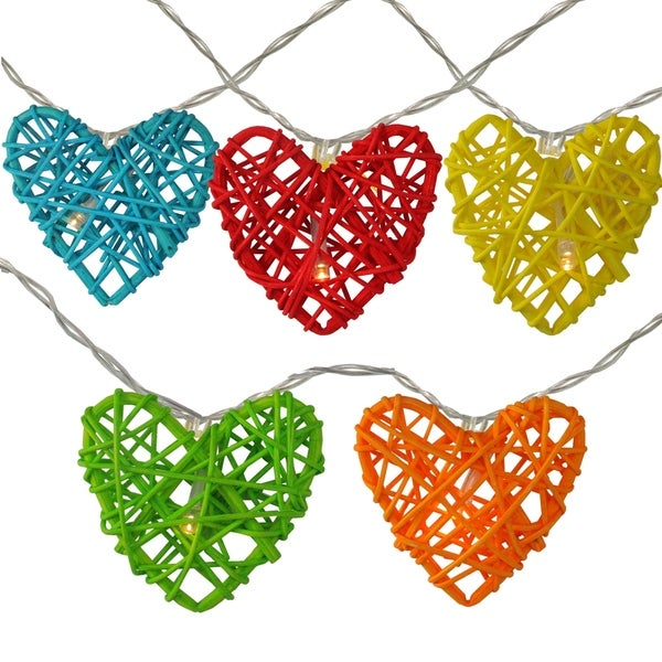 10 Battery Operated Valentine's Day Heart LED String Lights - 4.5ft Clear Wire
