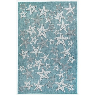 Liora Manne Coastal Starfish Indoor/Outdoor Rug Aqua