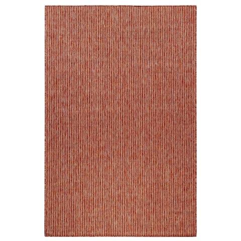 Liora Manne Carmel Texture Stripe Indoor/Outdoor Rug Red
