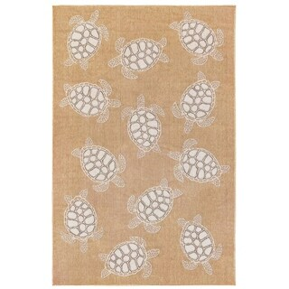 Liora Manne Carmel Coastal Seaturtles Indoor/Outdoor Rug Sand