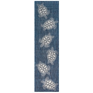 Liora Manne Coastal Seaturtles Indoor/Outdoor Rug Navy