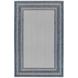 Liora Manne Carmel Multi Border Indoor/Outdoor Rug Navy