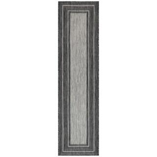 Liora Manne Carmel Multi Border Indoor/Outdoor Rug Black
