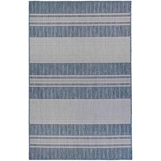 Liora Manne Carmel Stripe Indoor/Outdoor Rug Navy