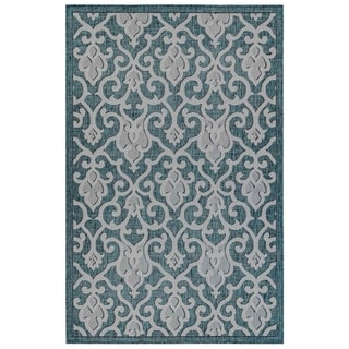 Link to Liora Manne Carmel Baroque Indoor/Outdoor Rug Teal Similar Items in Farmhouse Rugs