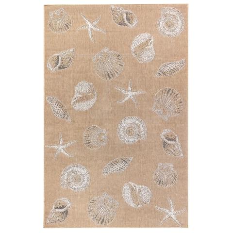 """Liora Manne Carmel Shells Indoor/Outdoor Rug Sand 7'10"""" Round"""