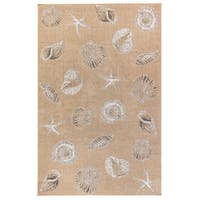 Havenside Home Gualala Coastal Shells Indoor/Outdoor Rug Sand