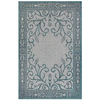Liora Manne Carmel Mosaic Indoor/Outdoor Rug Teal
