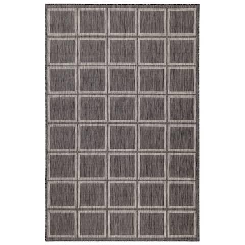 Liora Manne Carmel Modern Squares Indoor/Outdoor Rug Black