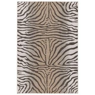 Liora Manne Carmel Animal Print Zebra Indoor/Outdoor Rug Sand
