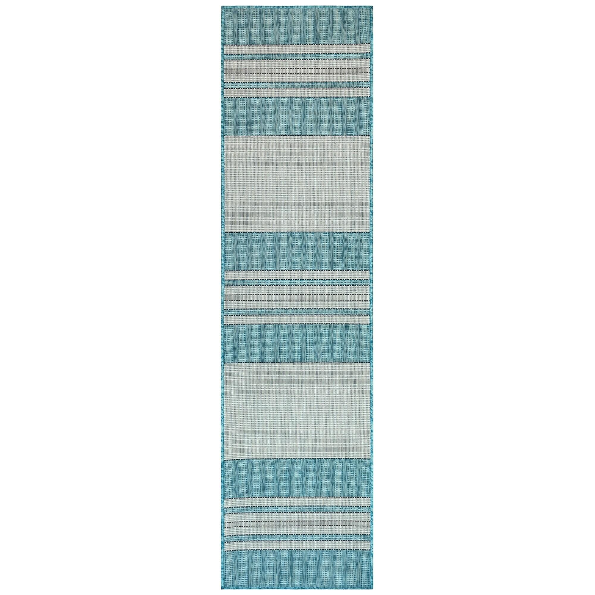 Liora Manne Carmel Stripe Indoor Outdoor Rug Aqua