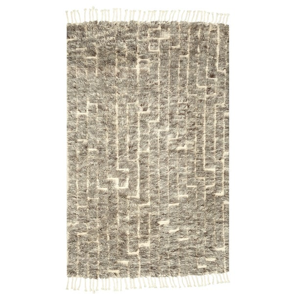 8x10 Boho Chic Hand Knotted Natural Grey Maze Wool Rug