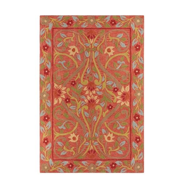 Scarlett Red Wool Handmade Area Rug - 8'6 x 12'6