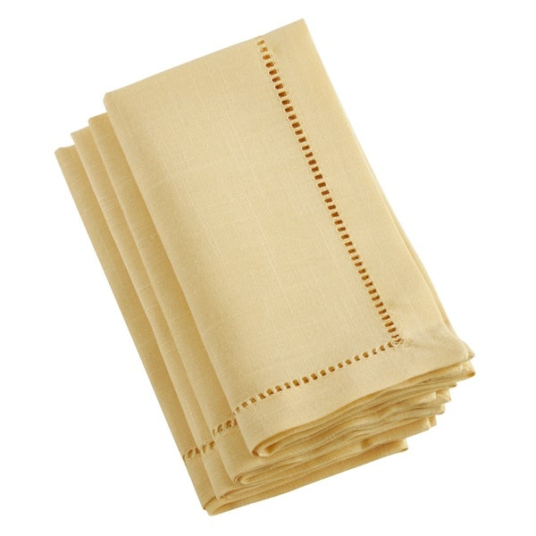 Saro Lifestyle Rochester Collection Yellow Classic Hemstitch Border Dinner Napkins (Set of 4)