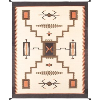 Pasargad Home Kilim Hand-Woven Ivory Wool Rug - 6' x 9'
