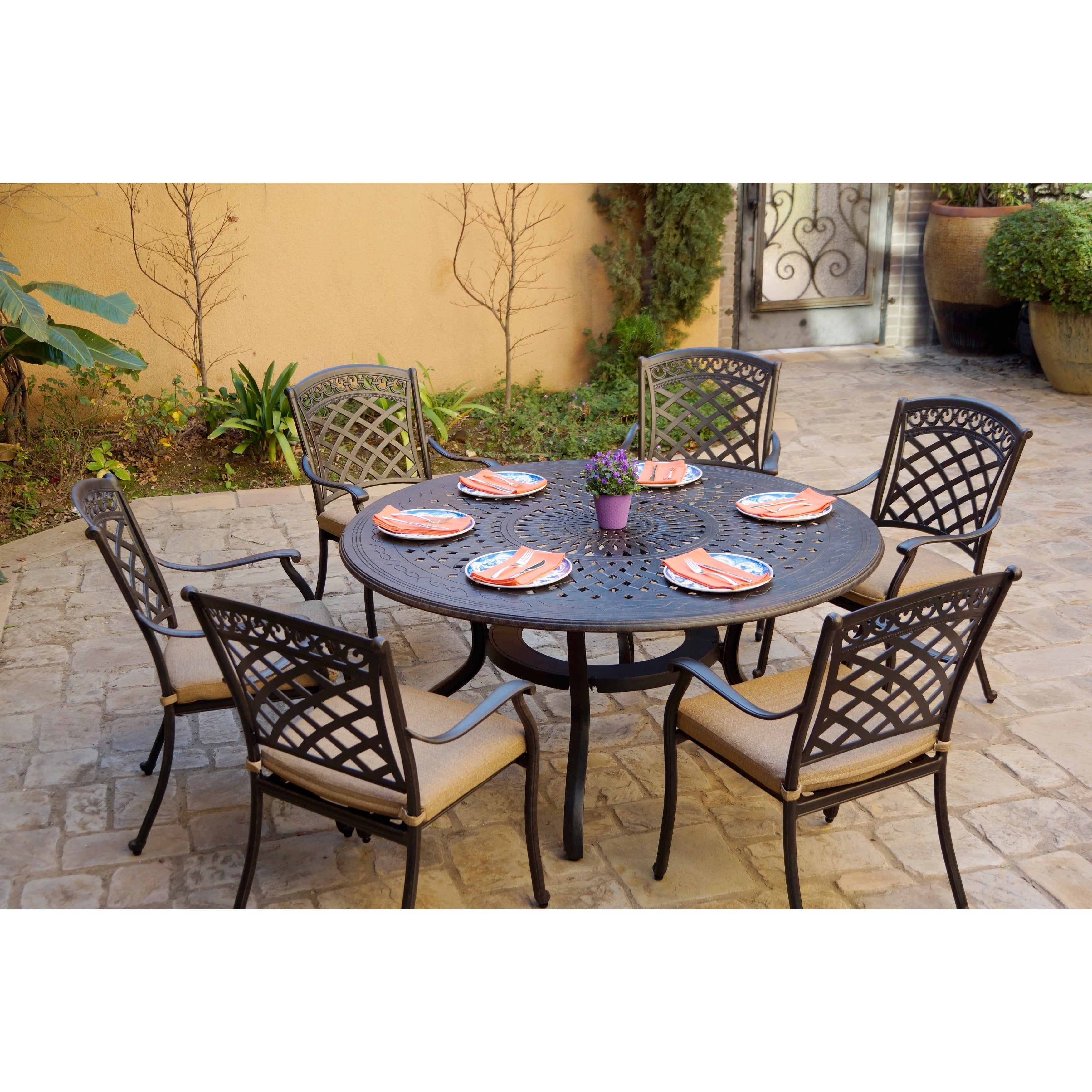 7 Piece Patio Dining Set 60 Inch Round Dining Table Overstock 27326446