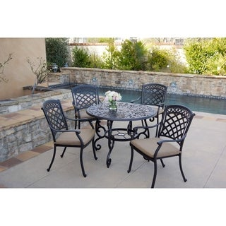 5-Piece Patio Dining Set, 42 Inch Round Dining Table