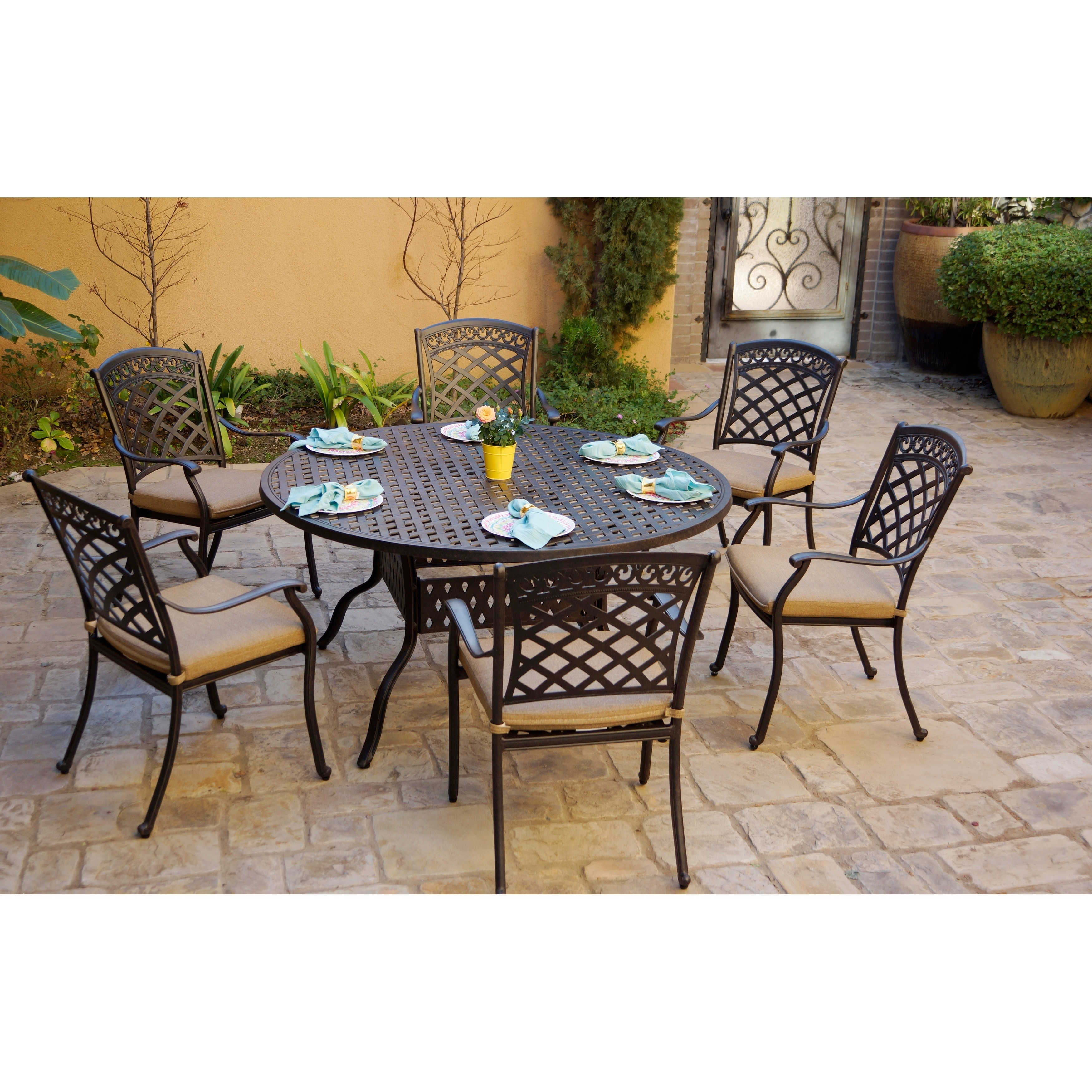 Round Table Patio Dining Sets.7 Piece Patio Dining Set 60 Inch Round Dining Table