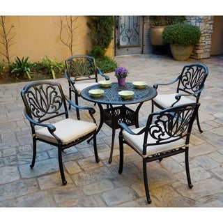 5-Piece Patio Dining Set, 36 Inch Round Dining Table