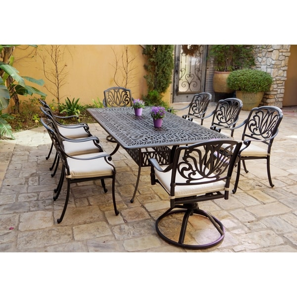 9-Piece Patio Dining Set, 44 X 84 Inch Rectangular Dining Table