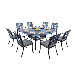 9-Piece Patio Dining Set, 64 Inch Square Dining Table