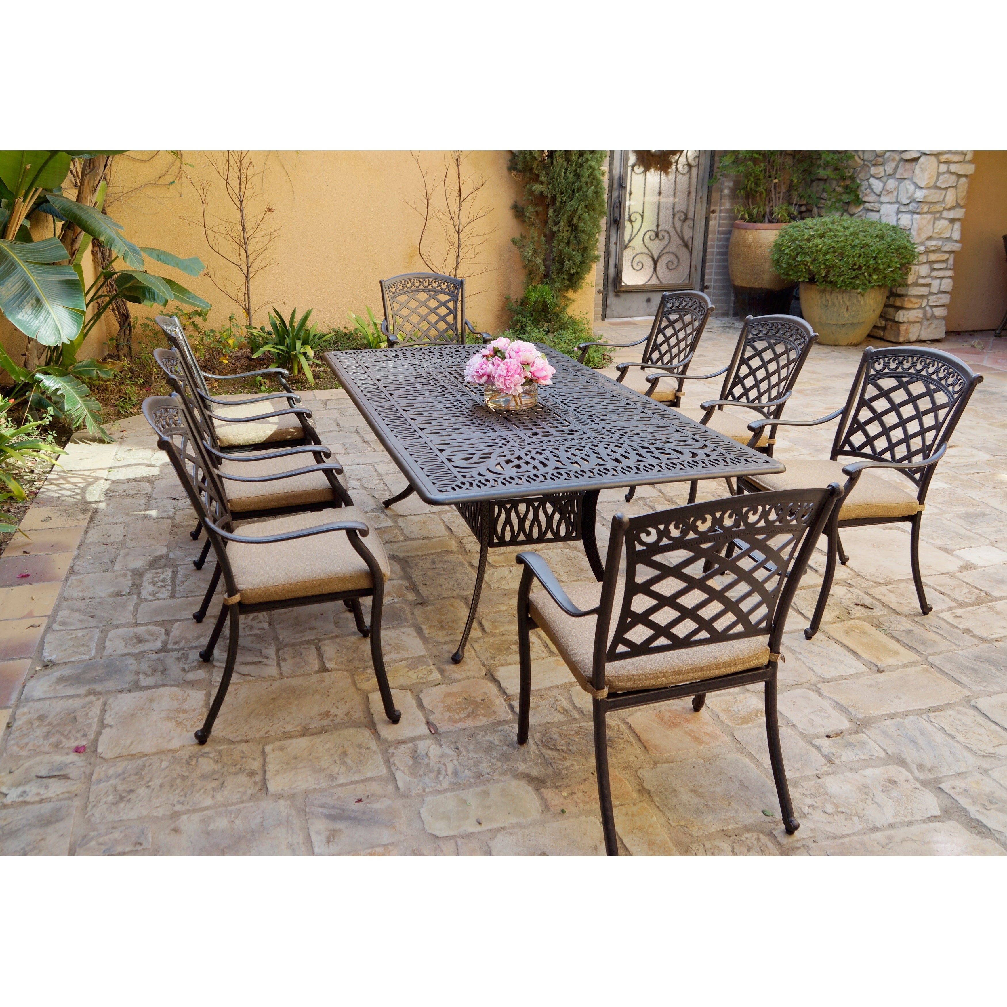 9 Piece Patio Dining Set, 44 X 84 Inch Rectangular Dining Table