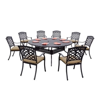 9-Piece Patio Dining Set, 72 Inch Round Dining Table