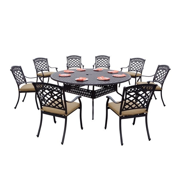 Shop 9-Piece Patio Dining Set, 72 Inch Round Dining Table