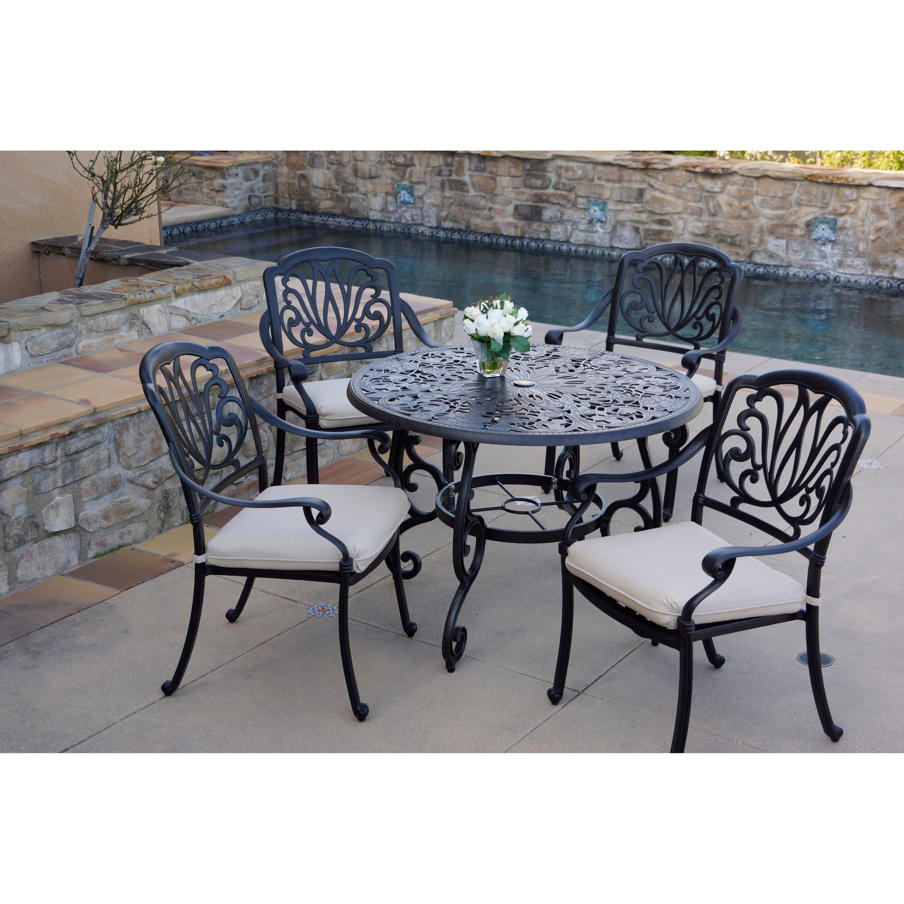 5 Piece Patio Dining Set 42 Inch Round Dining Table Overstock 27326461