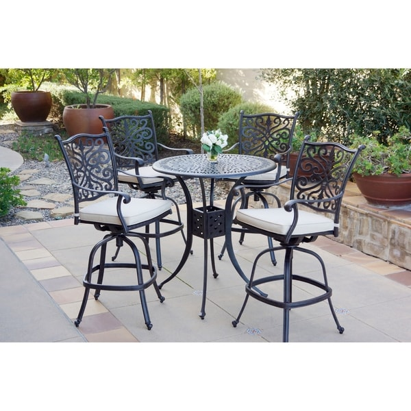 5-Piece Patio Bar Set, 36 Inch Round Bar Height Table