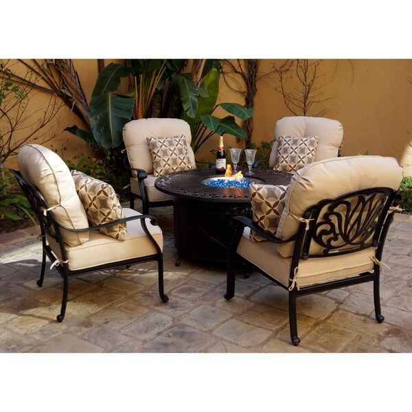 5 Piece Fire Pit Set With Cushions And Pillows , 47u0027u0027 Round Propane Fire  Pit Chat Table