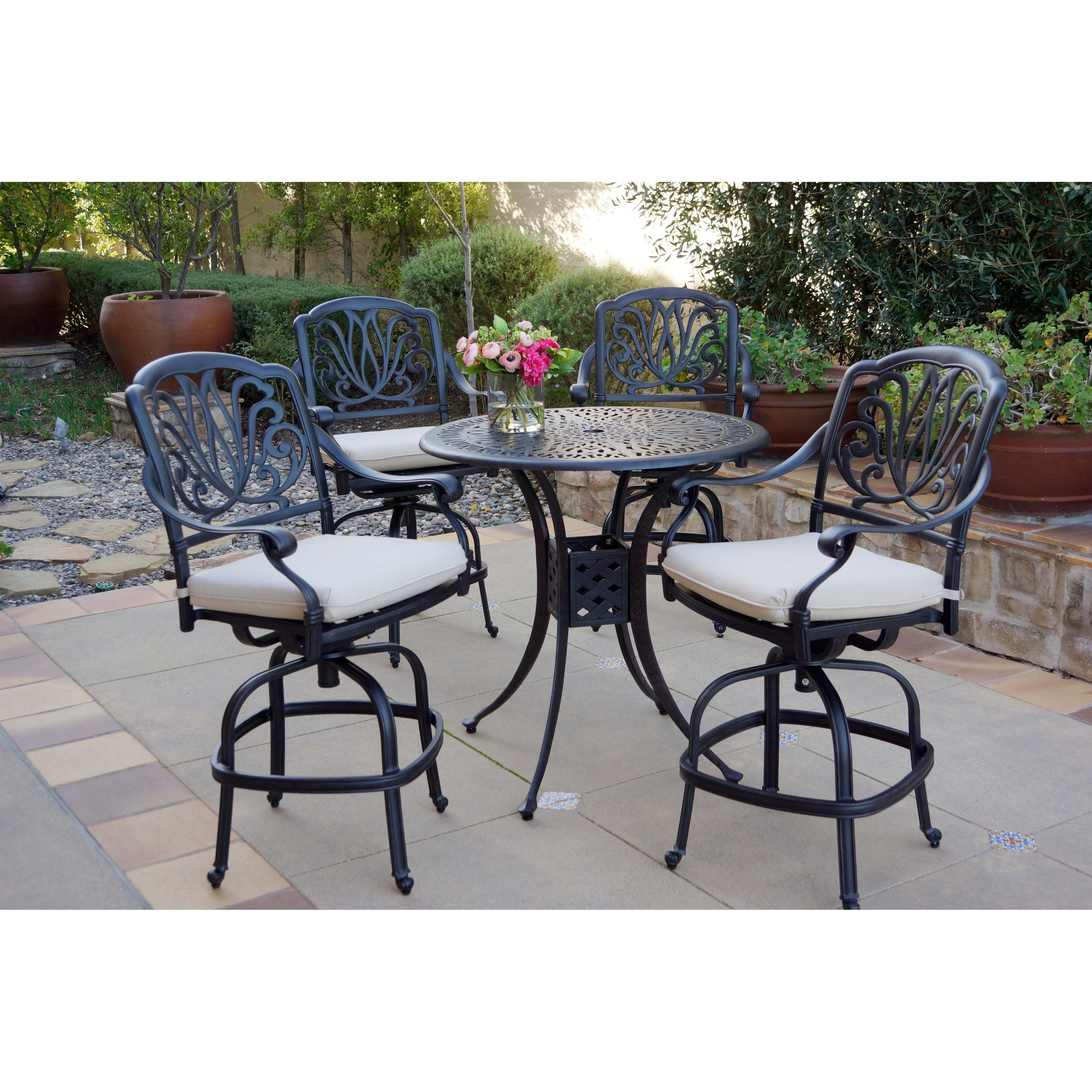 Picture of: 5 Piece Patio Bar Set 36 Inch Round Counter Height Bar Table Overstock 27326480