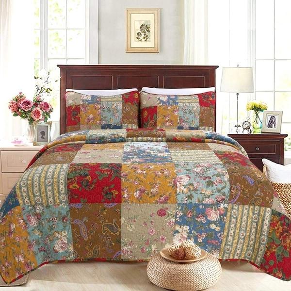 Porch & Den Arbordale Floral Patchwork Cotton 3-piece Reversible Quilt Set. Opens flyout.