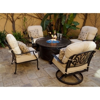 Havenside Home Portafina 5-piece Fire Pit Chat Set with Cushions and Pillows