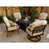 5-Piece Fire Pit Chat Set with Cushions and Pillows , 47'' Round Propane Fire Pit Chat Table