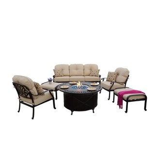 Havenside Home Portafina 6-piece Sofa Seating Fire Pit Chat Set with Cushions and Pillows