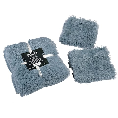 Porch & Den Halsted Shaggy Faux Fur 3-piece Throw and Pillow Shell Set
