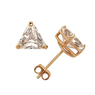 Curata Solid 14k Yellow or White Gold 6mm Trillion-cut Triangle Cubic Zirconia Basket Post Stud Earrings
